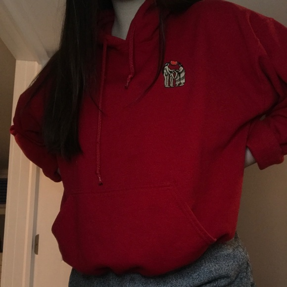 Red hoodie with native mini logo